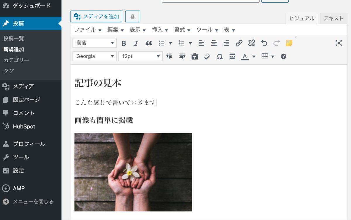 WordPressの投稿画面例